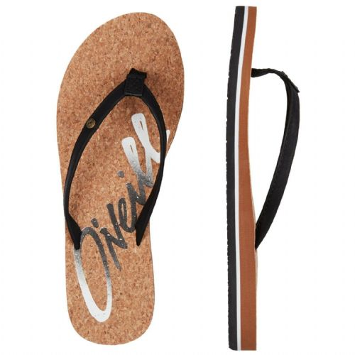 O'NEILL WOMENS FLIP FLOPS.LOGO CORK BLACK FAUX LEATHER STRAPPY THONGS 9S 17/9010